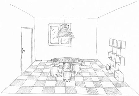 Claire - Formation Décorateur intérieur EDAA - Croquis d'un intérieur