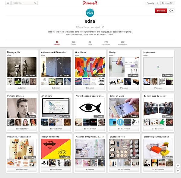 Vue du compte Pinterest de l'école EDAA