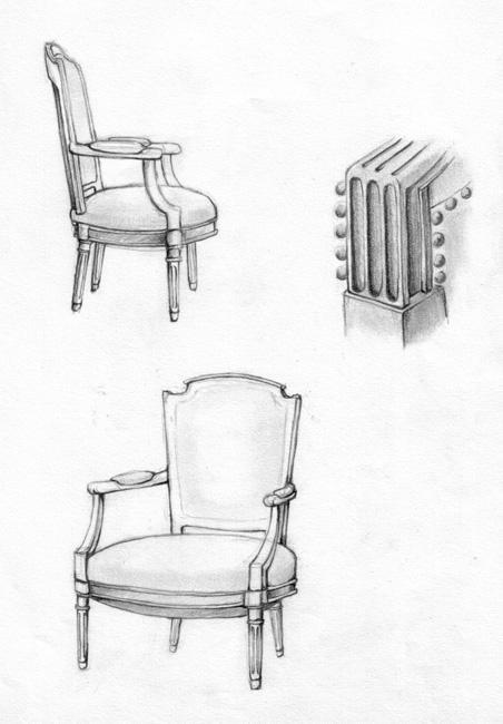 Croquis d'une vieille chaise au crayon
