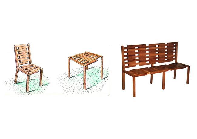 Croquis et maquette de mobilier d'extérieur en bois